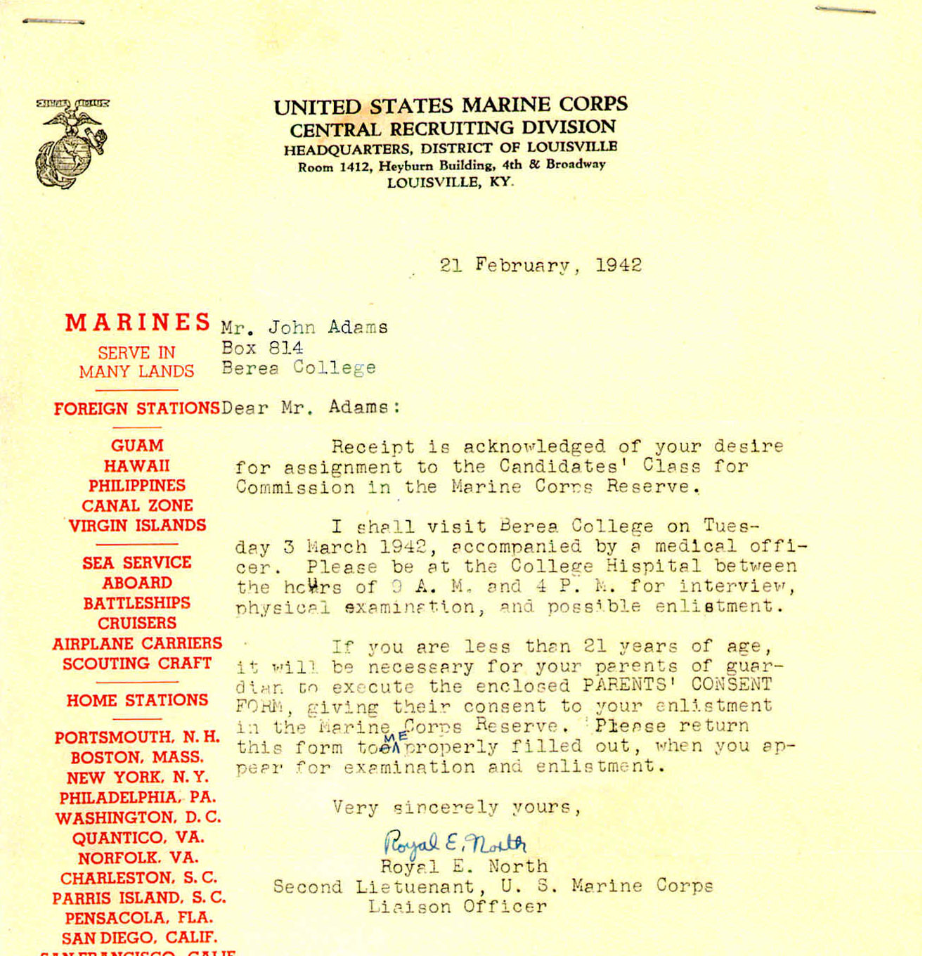 The world war ii experiences of john m adams corps enlistment letter thecheapjerseys Image collections