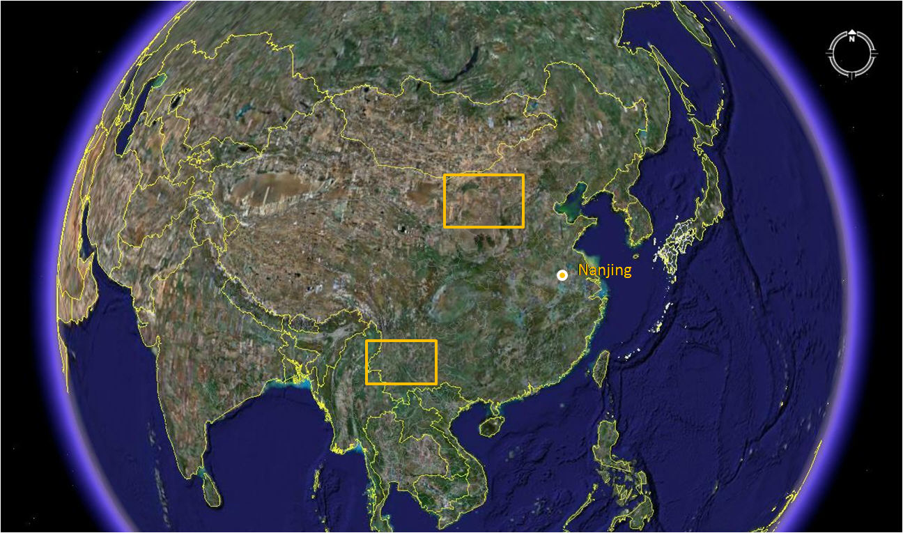 China and laos map of asia map of areas visited from google earth gumiabroncs Choice Image
